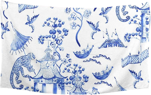 Inexpensive Import Blue and White Chinoiserie Towel