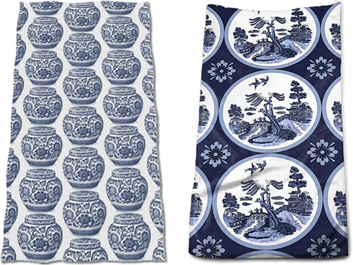 Inexpensive Import Blue and White Chinoiserie Hand Towels