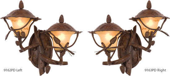 Kalco 9162PD Left and 9163PD Right Ponderosa Wall Lanterns