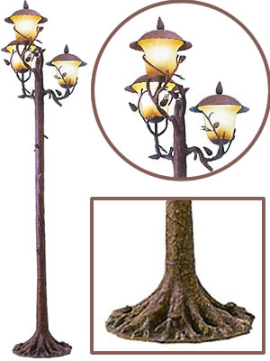 Kalco 9179PD Ponderosa Anchor Base Post with 9173PD Ponderosa 3-Light Lantern Head