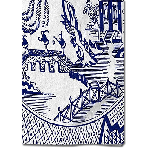 3dRose Blue Willow Pattern Hand Towel on towel bar