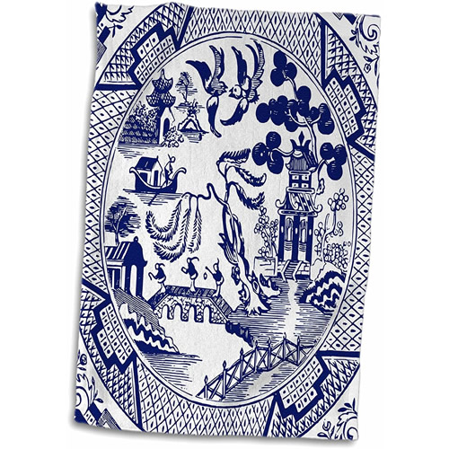 3dRose Blue Willow Pattern Hand Towel