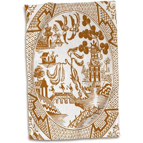 3dRose Brown Willow Pattern Hand Towel