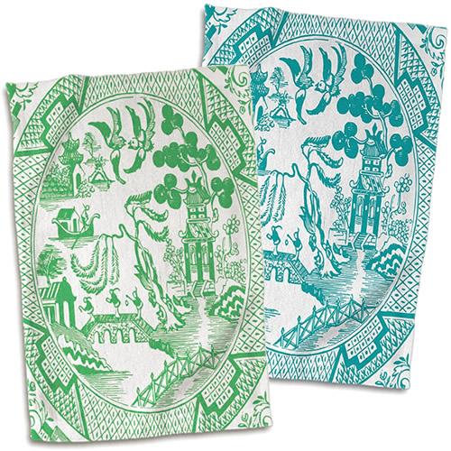 3dRose Green and Teal Willow Pattern Hand Towels