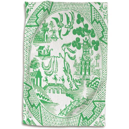 3dRose Green Willow Pattern Hand Towel