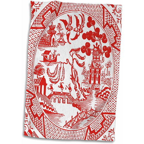 3dRose Red Willow Pattern Hand Towel