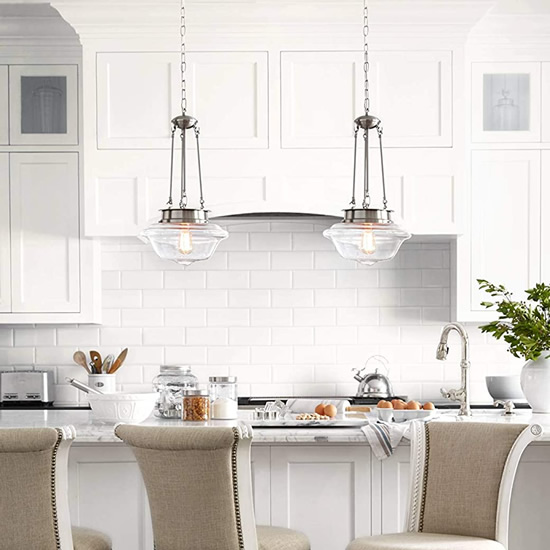 Modern Farmhouse Kitchen with Possini Euro Design Astrid Schoolhouse Pendants
