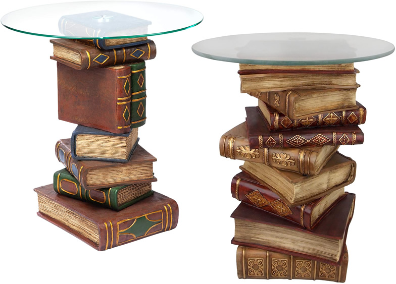 Design Toscano Book End Table with Glass Tops
