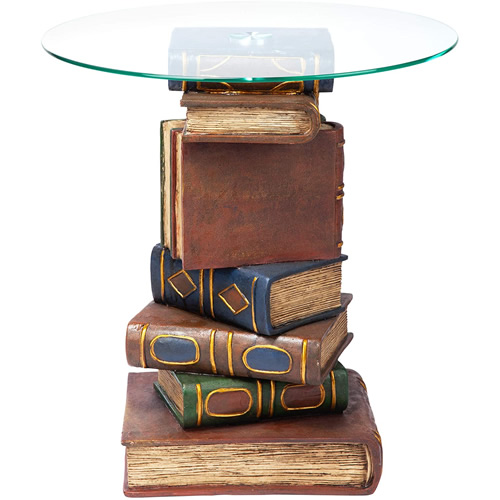 Design Toscano KY4049 Book Volumes End Table with Glass Top