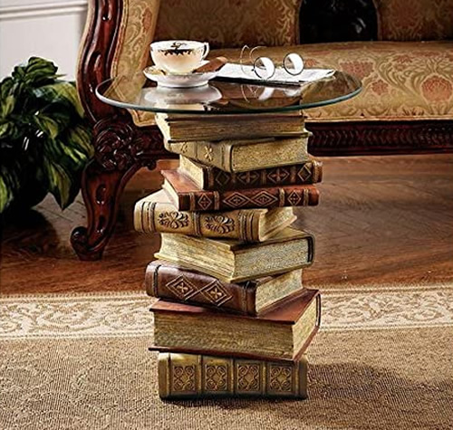 Design Toscano NG32069 Power of Books End Table with Glass Top