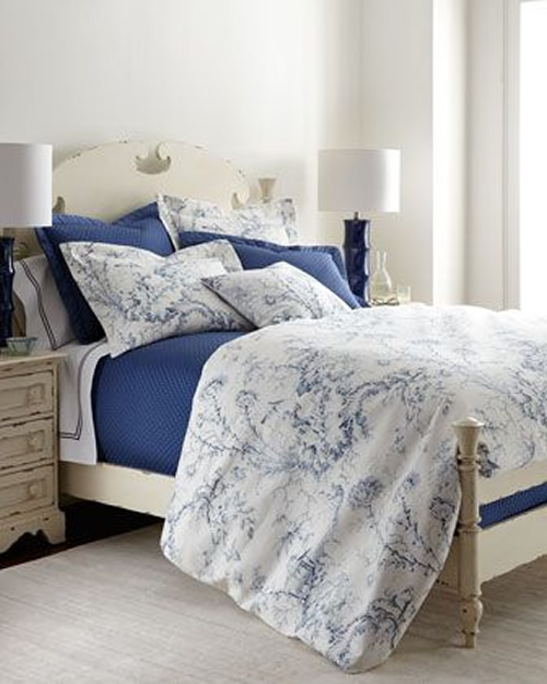 Full sized bed with Sherry Kline Home Pagoda bedding and pillows