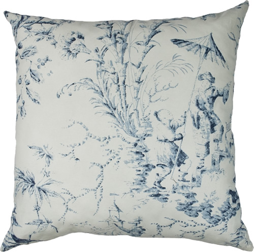 "20"" square pillow in Sherry Kline Home Chinoiserie Pagoda Toile Fabric"
