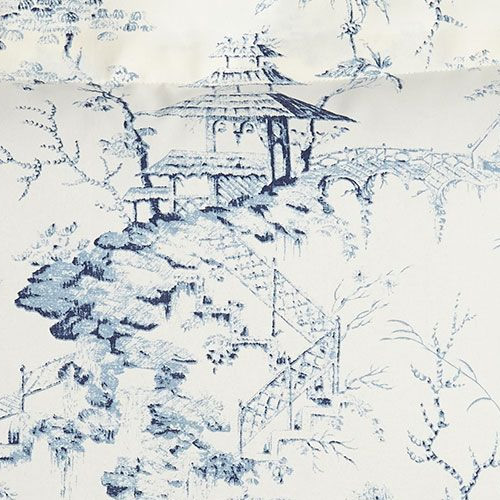 Sherry Kline Home Chinoiserie Pagoda Toile Fabric