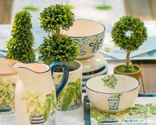 Table-top Topiary with Boston International Blue Topiary Pattern Tableware