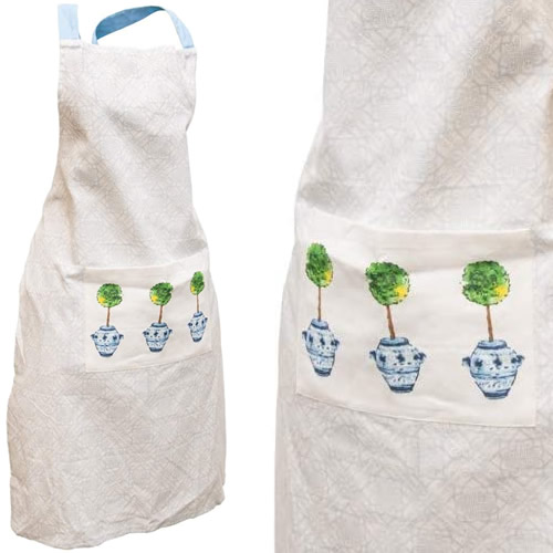 Boston International Blue Topiary Pattern Apron with Pocket