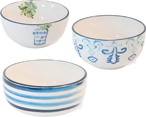 Boston International Blue Topiary Pattern Ceramic Nesting Bowls
