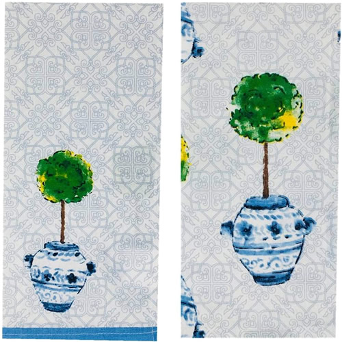 Boston International Blue Topiary Pattern Tea Towels