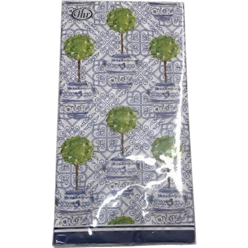 Boston International Blue Topiary Pattern Paper Guest Towels or Napkins