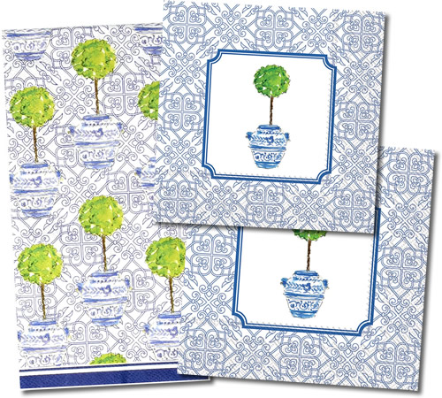 Boston International Blue Topiary Pattern Paper Napkins come in three sizes