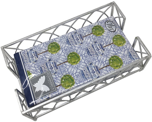 Boston International Blue Topiary Pattern Guest Towel Paper Napkins in Holder