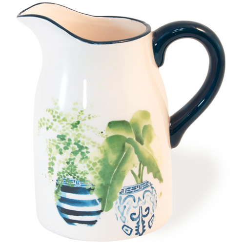 Boston International Blue Topiary Pattern Pitcher