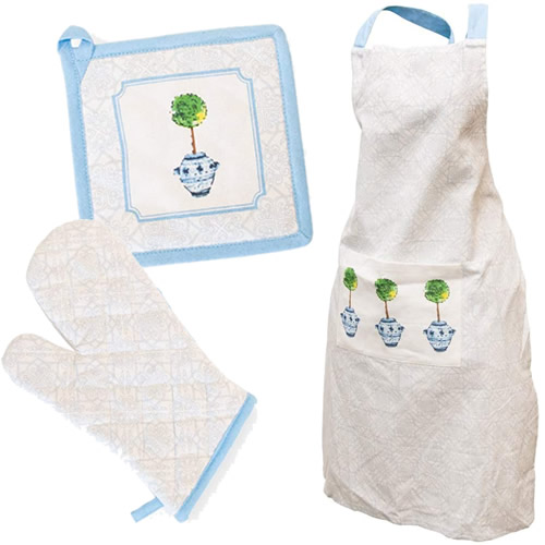 Boston International Blue Topiary Pattern Pot Holders and Apron