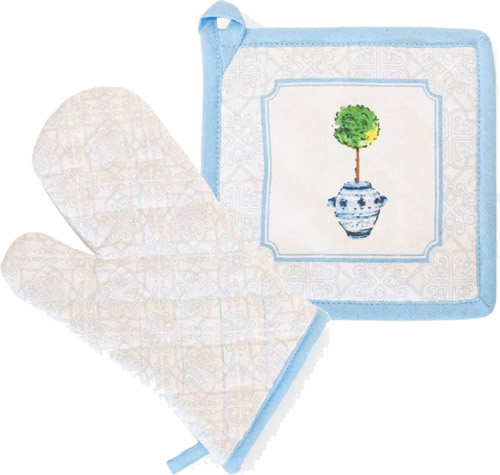 Boston International Blue Topiary Pattern Pot Holders