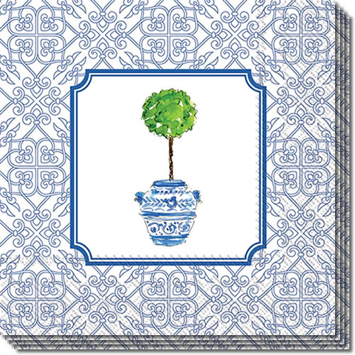 Boston International Blue Topiary Pattern Lunch Napkins and Cocktail Napkins
