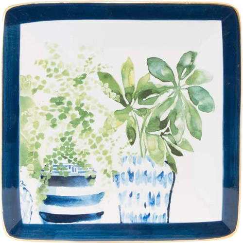Boston International Blue Topiary Pattern Square Plate