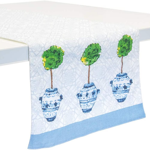 Boston International Blue Topiary Pattern Table Runner