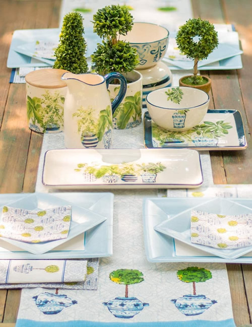 Boston International Blue Topiary Pattern Pitcher, Bowls, Plates, Napkins, Canisters and Table Runner