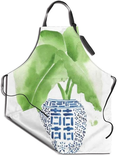 Apron with Water Color Blue and White Chinoiserie Ginger Jar with Elephant Ear Plant