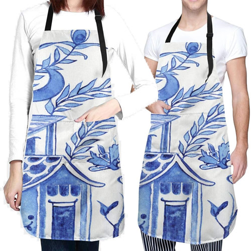 Blue Willow Pagoda Apron