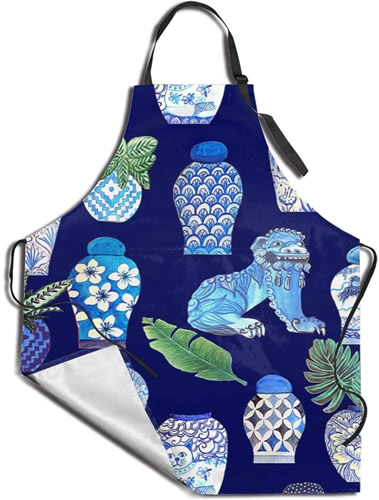 Chinoiserie Foo Dogs and Ginger Jars Apron in Blue and White