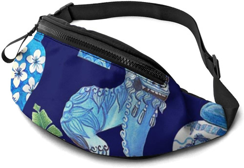 Blue and White Chinoiserie Foo Dogs and Ginger Jars Fanny Pack