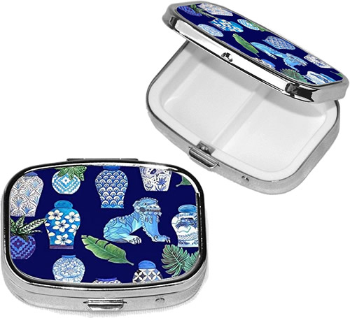 Blue and White Chinoiserie Foo Dogs and Ginger Jars Pill Box