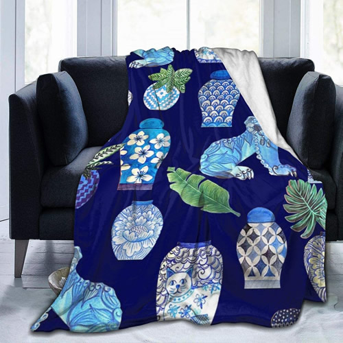 Blue and White Chinoiserie Foo Dogs and Ginger Jars Throw Blanket