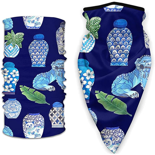 Two Face Mask styles in Blue and White Chinoiserie Foo Dogs and Ginger Jars fabric