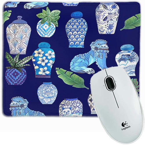 Blue and White Chinoiserie Foo Dogs and Ginger Jars Mouse Pad