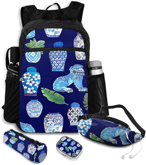 Backpack, Zip Case, Fanny Pack and Pillbox with Foo Dogs and Blue and White Ginger Jars