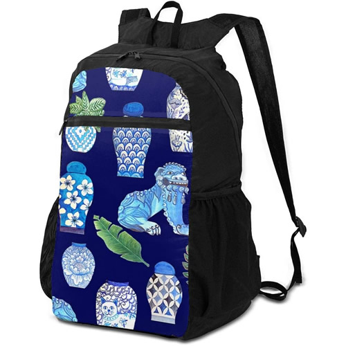 Backpack with Foo Dogs and Blue and White Ginger Jars