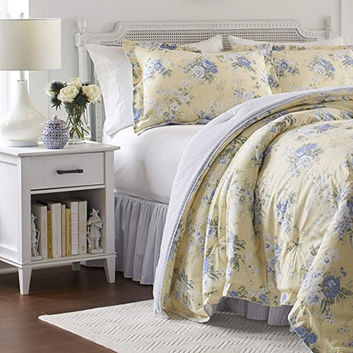 Laura Ashley Home Maybelle Bedding with White Sheets and Pillow Cases