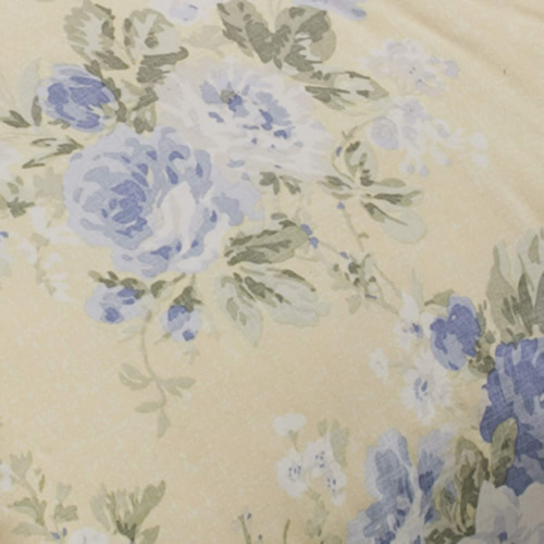 Laura Ashley Home Maybelle Print Blue and Roses and Green Leaves on Yellow