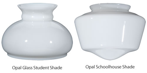 The shade for a hurricane lamp is very like the shade for a schoolhouse light.