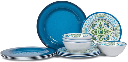 Blue and White Melamine Dinnerware Set
