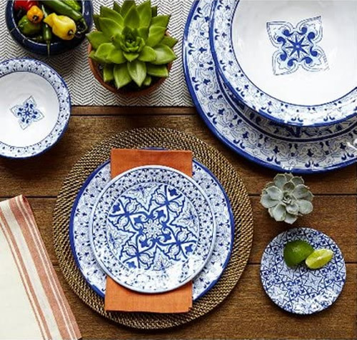 Talavera in Azul Blue and White BPA-Free Melamine