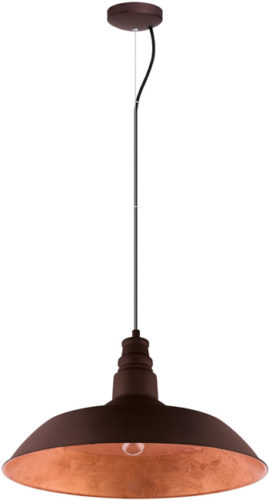 Eglo 201605A Somerton 2 Chocolate Brown and Rose Gold Farmhouse Pendant
