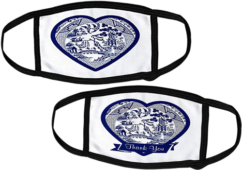 3d Rose Heart Blue Willow Pattern Face Masks