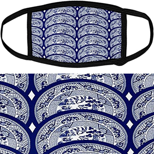 3d Rose Face Mask with Overlapping Willow Pattern Plates