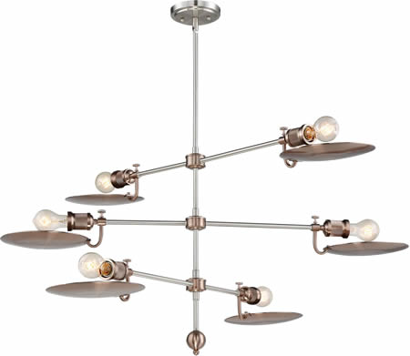 Craftmade PLNSRG: Polished Nickel and Satin Rose Gold Eclipse Industrial Age Chandelier